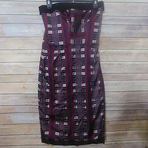 Carolina Herrera Strapless Silk Geometric Dress
